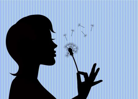 visage femme profil: silhouette d'une jeune fille tenant un pissenlit et soufflant dessus Illustration