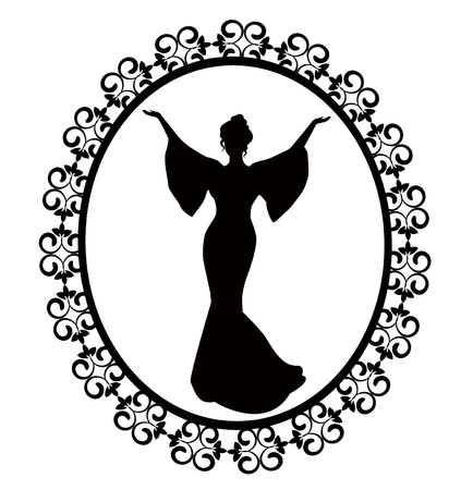 elegant female silhouette in a dress in retro-carved frame  イラスト・ベクター素材