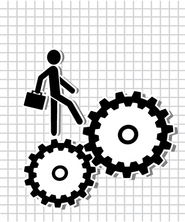 businessman with a briefcase walks on the gears Stock Vector - 21072835
