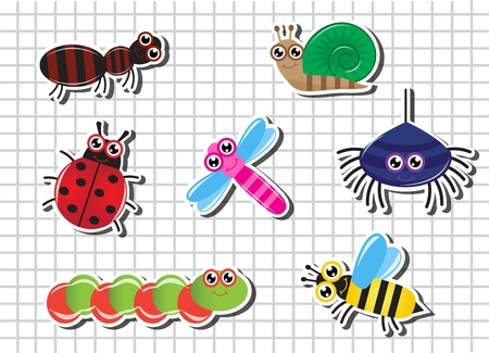 Set of bright Cartoon insects against a sheet of paper in the cage Vector