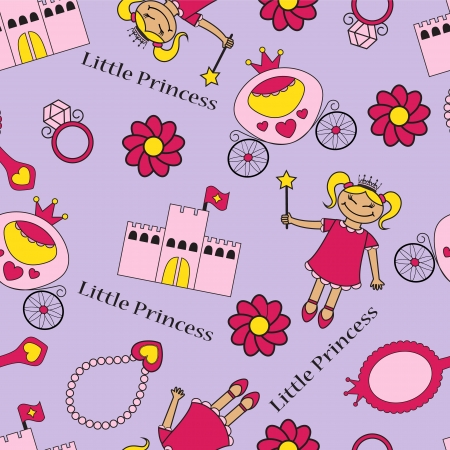 Seamless background with the princess and her belongings in pink Vector