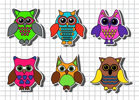 drawings image: Cartoon owls set against the background of a sheet of paper in the cage Illustration
