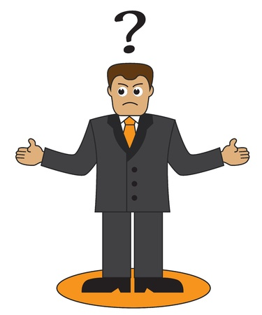 Cartoon office worker throws up his hands  Above his head businessman question mark   Vector