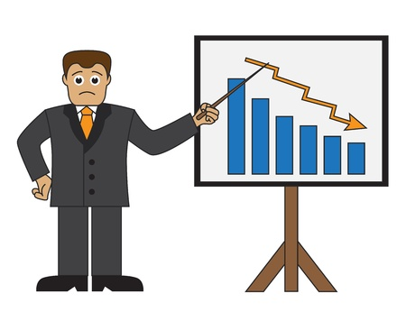 Cartoon businessman pointer graph shows a graph with falling incomes   Illustration