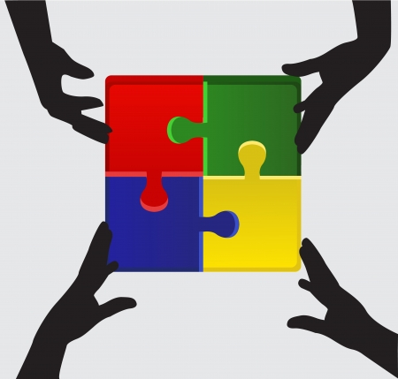 arms folded: silhouettes of four arms folded puzzle of four different colored parts