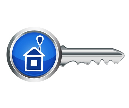 silver key with a handle in the form of a small house Stock Vector - 21214462