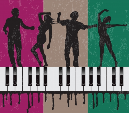 grunge background with dancing people and piano Vector