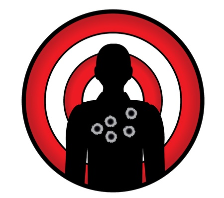 back round: human silhouette with bullet holes against a target