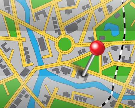 geographical locations:   abstract map of the area to the destination  Destination marked with a red pin Illustration