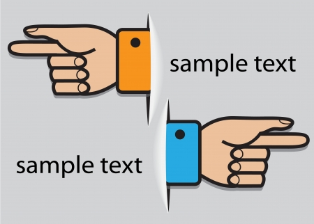 this: paper hands cuffed pointing to the right and to the left Illustration