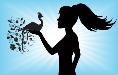 female silhouette holding a bird with a large patterned tail Vector
