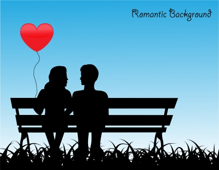 couple in love: silhouettes of men and women sit on the bench A woman holding a balloon in the shape of heart