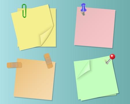 sticky tape: Establecer trozos de papel de diferentes colores en la cinta adhesiva y pines de papeler�a