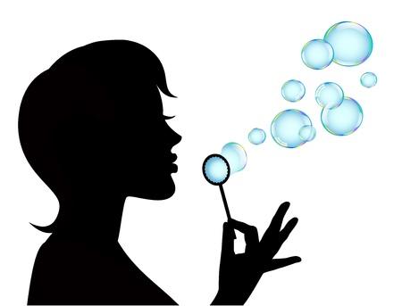 soap sud:   female silhouette in profile blows shiny bubbles