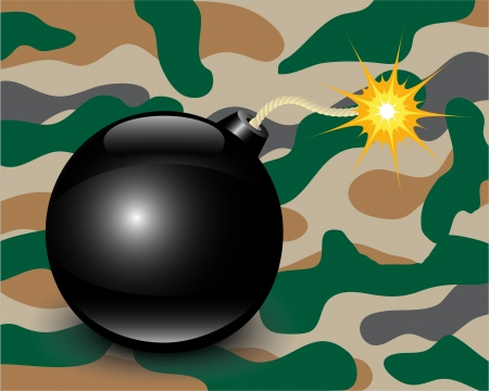 guerilla warfare: shiny bomb on a green camouflage background