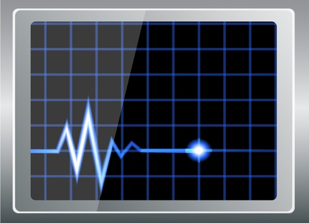 taking pulse: vector illustration-cardiogram on the shiny screen