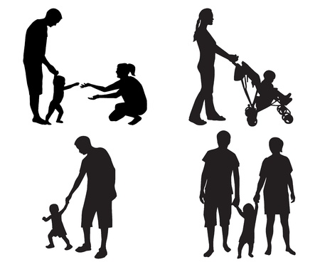 family with two children: black silhouettes of families with children on a white background
