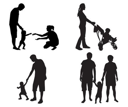 hijos: siluetas negras de familias con niños en un fondo blanco