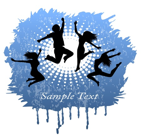 euphoric: shabby blue abstract background with silhouettes of people jumping