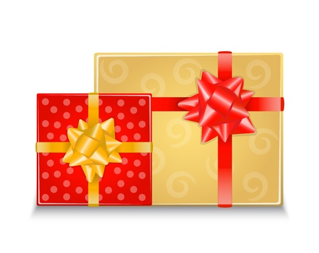 two colorful gift boxes with shiny ribbons Vector