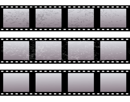 cinematographer: set of three old shabby film on a white background   Illustration