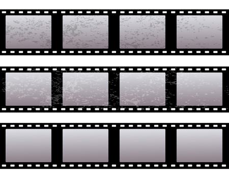cinematographer: set of three old shabby film on a white background   Illustration