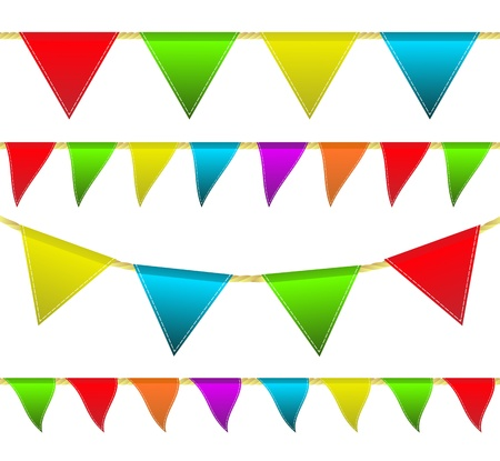 brightly colored: Set brightly colored flags on a rope