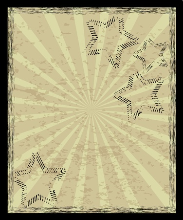 'retro styled': Aged vintage background with stars and rays