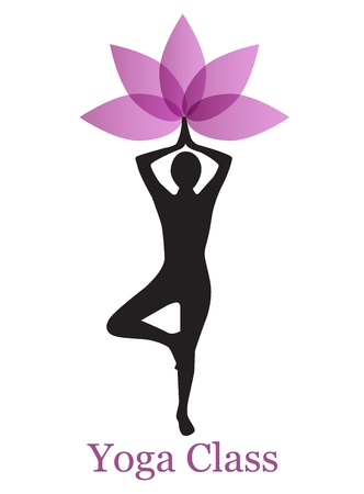 female: silhouette of a woman doing yoga and lotus flower Illustration