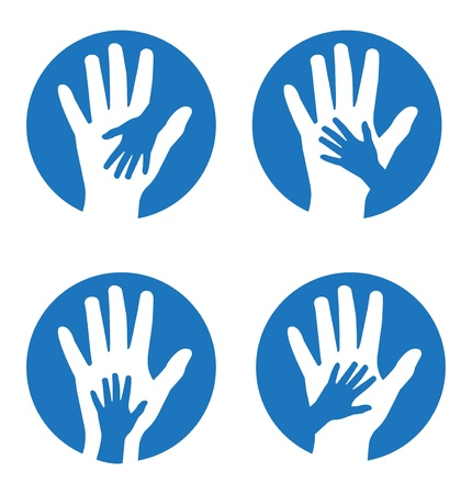 expressing positivity: Set of four concepts featuring children s and adults  hands