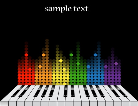 oscillate: Black background with glossy piano keys and colorful equalizer