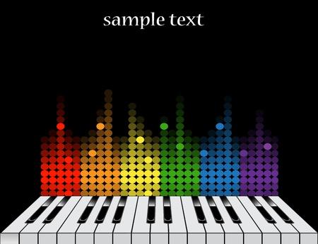 Zwarte achtergrond met glanzende pianotoetsen en kleurrijke equalizer Stock Illustratie