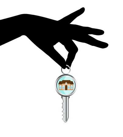 ring finger:   black silhouette of a human hand holding a house key Illustration