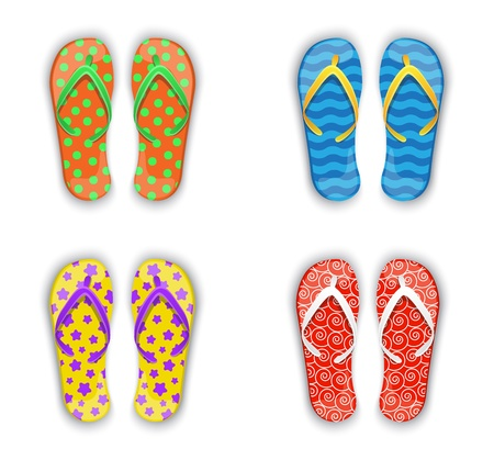 Set of multi-colored Flip-flops with different patterns Stock Vector - 21923233