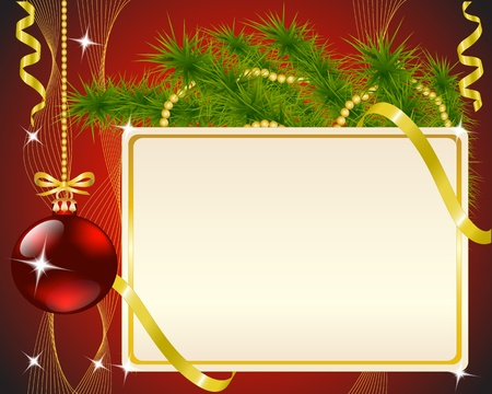new year s eve: Christmas card, fir branch, a toy and gold ribbons on red background