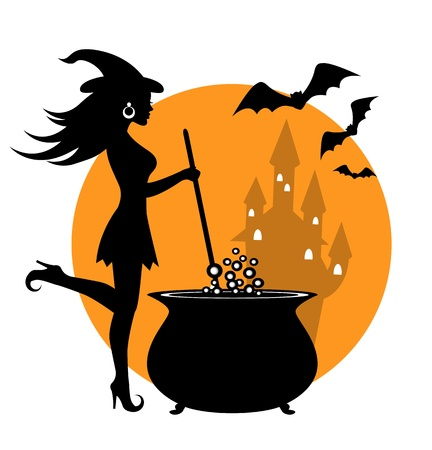 beautiful witch prevents potion in a cauldron   Vector