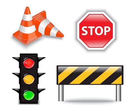 Set of four bright and road Construction icons Vector