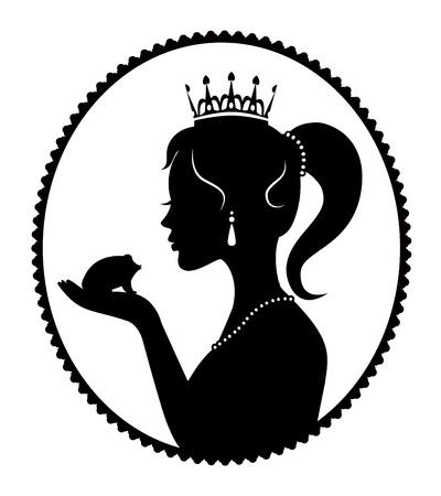 очаровательный: Принцесса корону держа в ладони лягушку