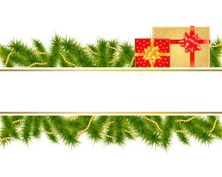 christmas background with fir branches and gifts Vector