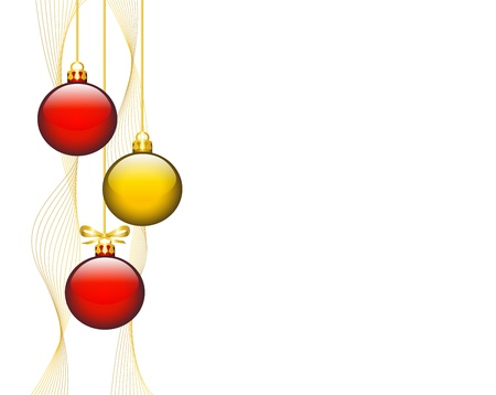 new year s: The hanging shiny Christmas decorations on white background