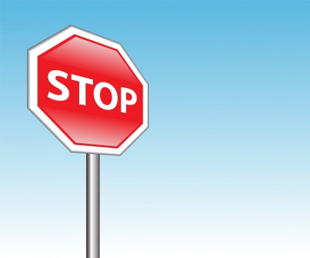 red road sign  stop  on a background of blue sky Vector