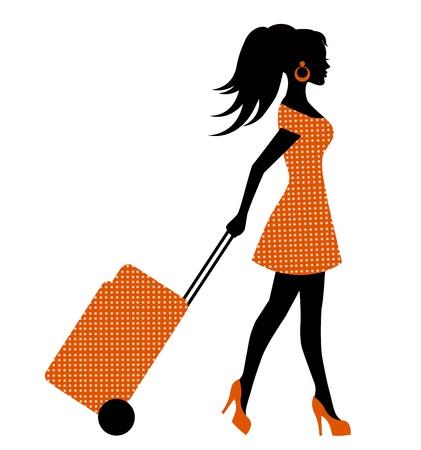 エレガントな女性的なシルエット車輪スーツケースの車輪の上
