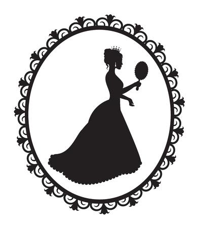 silhouet van een prinses kroon en een lange jurk in een patroon frame Stock Illustratie