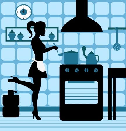 'retro styled': woman cooking in the kitchen