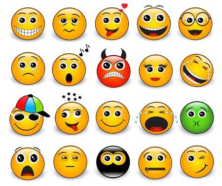 sentimientos y emociones: Conjunto de brillantes emociones redondas de color amarillo sobre un fondo blanco