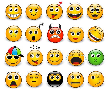 smiley icon: Set of bright yellow round emotions on a white background