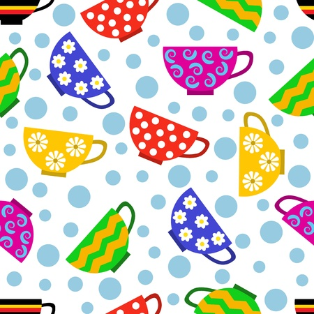 spotted flower: seamless pattern with colorful cups and bubbles