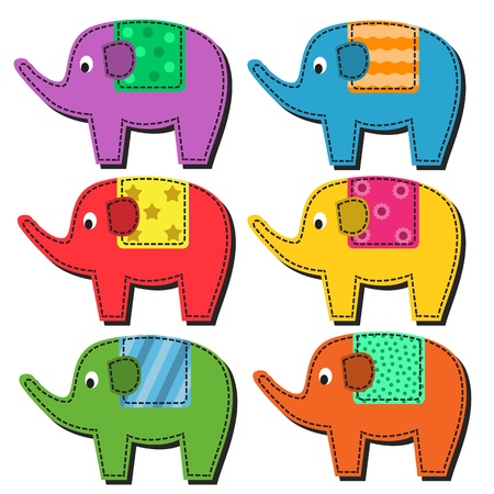 cartoons designs: Set of multi-colored elephant patterned seats on a white background