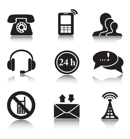rotary: Set of black icons communication and contacts on a white background