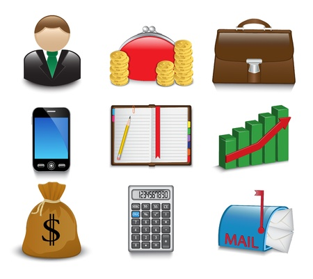 Set of bright business and financial icons on a white background Vector
